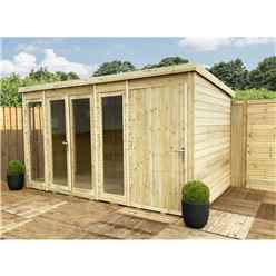 INSTALLED 12ft x 8ft COMBI Pressure Treated Tongue & Groove Pent Summerhouse with Higher Eaves and Ridge Height + Side Shed + Toughened Safety Glass + Euro Lock with Key - INCLUDES INSTALLATION