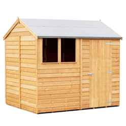 INSTALLED 8 x 6 (2.39m x 1.83m) - Reverse - Super Value Overlap - Apex Wooden Shed - 1 Window - Single Door - 8mm Solid OSB Floor