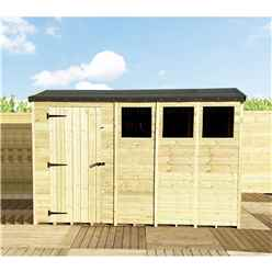 "11 x 4 **Flash Reduction** REVERSE Super Saver Pressure Treated Tongue and Groove Apex Shed + Single Door + High Eaves 74"" + 3 Windows"