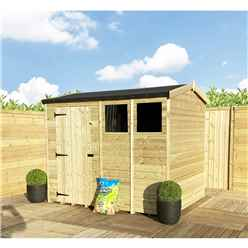 "8 x 8 **Flash Reduction** REVERSE Super Saver Pressure Treated Tongue and Groove Apex Shed + Single Door + High Eaves 74"" + 2 Windows"