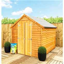** Flash Reduction** 8 X 6 (2.39m X 1.83m) - Super Value Overlap - Apex Garden Wooden Shed - Windowless - Double Doors - 10mm Solid OSB Floor - CORE