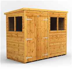 8 X 4 Premium Tongue And Groove Pent Shed - Double Doors - 4 Windows - 12mm Tongue And Groove Floor And Roof