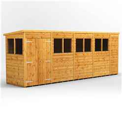 18 X 4 Premium Tongue And Groove Pent Shed - Double Doors - 8 Windows - 12mm Tongue And Groove Floor And Roof