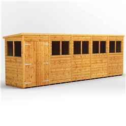 20 X 4 Premium Tongue And Groove Pent Shed - Double Doors - 10 Windows - 12mm Tongue And Groove Floor And Roof