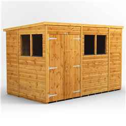 10 X 6 Premium Tongue And Groove Pent Shed - Double Doors - 4 Windows - 12mm Tongue And Groove Floor And Roof