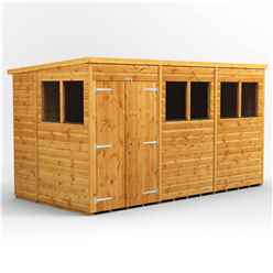 12 X 6 Premium Tongue And Groove Pent Shed - Double Doors - 6 Windows - 12mm Tongue And Groove Floor And Roof