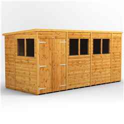 14 X 6 Premium Tongue And Groove Pent Shed - Double Doors - 6 Windows - 12mm Tongue And Groove Floor And Roof