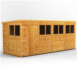 16 x 6 Premium Tongue and Groove Pent Shed - Double Doors - 8 Windows - 12mm Tongue and Groove Floor and Roof