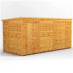 14 X 6 Premium Tongue And Groove Pent Shed - Single Door - Windowless - 12mm Tongue And Groove Floor And Roof