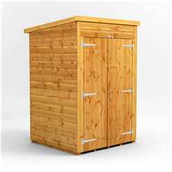 4 X 4  Premium Tongue And Groove Pent Shed - Double Doors - Windowless - 12mm Tongue And Groove Floor And Roof