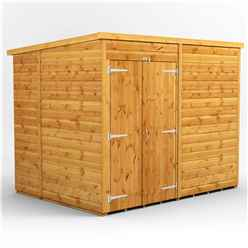 8 X 6 Premium Tongue And Groove Pent Shed - Double Doors - Windowless - 12mm Tongue And Groove Floor And Roof