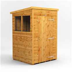 4 X 4  Premium Tongue And Groove Pent Shed - Single Door - 2 Windows - 12mm Tongue And Groove Floor And Roof