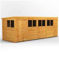 18 X 6 Premium Tongue And Groove Pent Shed - Single Door - 8 Windows - 12mm Tongue And Groove Floor And Roof