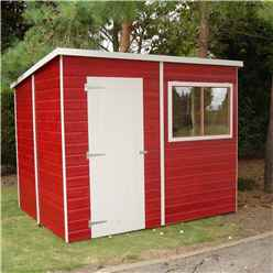 INSTALLED 8 x 6 (1.83m x 2.39m) Tongue And Groove Pent Garden Shed With 1 Window And Single Door 10mm Solid OSB Floor - INSTALLATION INCLUDED