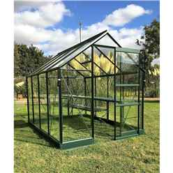 6 x 10 Premier Low Threshold Green Metal Frame Greenhouse