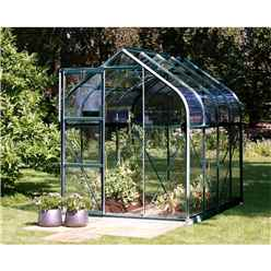 6 x 8 Premier Single Door Green Frame Greenhouse - Curved Eaves