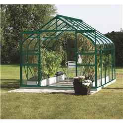 8 X 14 Premier Double Doors Green Metal Greenhouse - Curved Eaves
