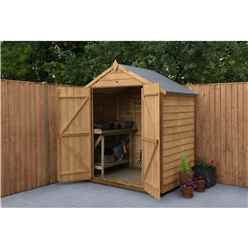 Installed 4 X 6 Overlap Apex Wooden Garden Security Shed Windowless (1.3m X 1.8m) - Modular - Double Doors - Includes Installation - *double Doors Are On The 6ft Side