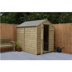 Installed 7ft X 5ft (1.5m X 2.2m)  Pressure Treated Overlap Apex Wooden Garden Shed With Single Door And Windowless - Modular