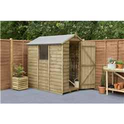 6ft X 4ft (1.3m X 1.8m) Overlap Pressure Treated Apex Shed With Single Door And 1 Window - Modular (core)