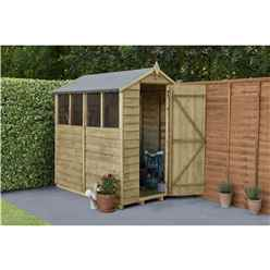 6ft X 4ft (1.3m X 1.8m) Overlap Pressure Treated Apex Shed With Single Door And 4 Windows - Modular