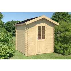 2.2m X 2.2m Log Cabin - Single Glazing (28mm Wall Thickness) - Single Door - *flash Reduction - Fast Delivery