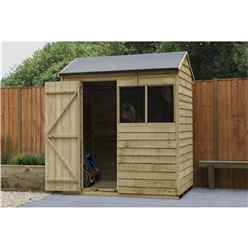 6ft X 4ft (1.9m X 1.2m) Overlap Pressure Treated Reverse Apex Shed With Single Door And 2 Window - Modular - Core