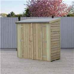 6ft X 3ft (1.8m X 0.9m) - Value Overlap Pressure Treated - Pent Garden Shed - Windowless - Double Doors - 10mm Solid OSB Floor - CORE