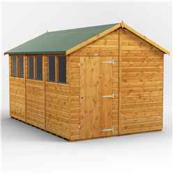 12 x 8 Premium Tongue and Groove Apex Shed - Single Door - 6 Windows - 12mm Tongue and Groove Floor and Roof