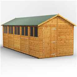 20 x 8  Premium Tongue and Groove Apex Shed - Single Door - 10 Windows - 12mm Tongue and Groove Floor and Roof
