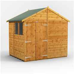 6ft x 8ft  Premium Tongue and Groove Apex Shed - Double Doors - 2 Windows - 12mm Tongue and Groove Floor and Roof
