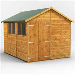 10ft x 8ft  Premium Tongue and Groove Apex Shed - Double Doors - 4 Windows - 12mm Tongue and Groove Floor and Roof