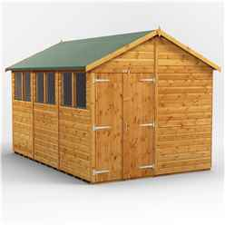 12ft x 8ft  Premium Tongue and Groove Apex Shed - Double Doors - 6 Windows - 12mm Tongue and Groove Floor and Roof