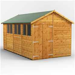 14ft x 8ft  Premium Tongue and Groove Apex Shed - Double Doors - 6 Windows - 12mm Tongue and Groove Floor and Roof
