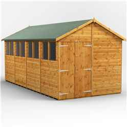 16ft x 8ft  Premium Tongue and Groove Apex Shed - Double Doors - 8 Windows - 12mm Tongue and Groove Floor and Roof