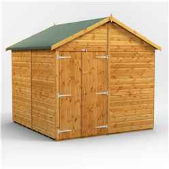 8 x 8 Premium Tongue and Groove Apex Shed - Double Doors - Windowless - 12mm Tongue and Groove Floor and Roof