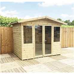 7 X 7 Pressure Treated Tongue And Groove Apex Summerhouse With Higher Eaves And Ridge Height + Overhang + Toughened Safety Glass + Euro Lock With Key + SUPER STRENGTH FRAMING
