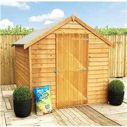 ** Flash Reduction** 8 X 6 (2.39m X 1.83m) - Pressure Treated - Super Value Overlap - Apex Garden Wooden Shed - Windowless - Single Door - 10mm Solid OSB Floor - CORE