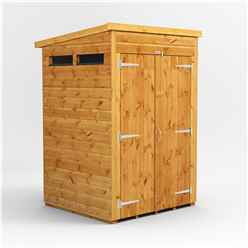 4 X 4 Security Tongue And Groove Pent Shed - Double Doors - 2 Windows - 12mm Tongue And Groove Floor And Roof