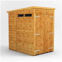 4 X 6  Security Tongue And Groove Pent Shed - Double Doors - 2 Windows - 12mm Tongue And Groove Floor And Roof