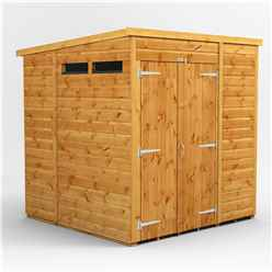 6 X 6 Security Tongue And Groove Pent Shed - Double Doors - 2 Windows - 12mm Tongue And Groove Floor And Roof