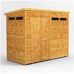 8 X 4 Security Tongue And Groove Pent Shed - Single Door - 4 Windows - 12mm Tongue And Groove Floor And Roof