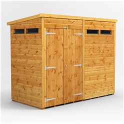 10 X 6 Security Tongue And Groove Pent Shed - Double Doors - 4 Windows - 12mm Tongue And Groove Floor And Roof