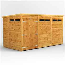 12 X 4 Security Tongue And Groove Pent Shed - Double Doors - 6 Windows - 12mm Tongue And Groove Floor And Roof