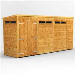 14 X 4 Security Tongue And Groove Pent Shed - Double Doors - 6 Windows - 12mm Tongue And Groove Floor And Roof