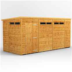14 X 6 Security Tongue And Groove Pent Shed - Single Door - 6 Windows - 12mm Tongue And Groove Floor And Roof