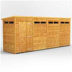 16 X 4 Security Tongue And Groove Pent Shed - Single Door - 8 Windows - 12mm Tongue And Groove Floor And Roof