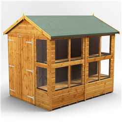 8 X 6 Premium Tongue And Groove Apex Potting Shed - Double Doors - 12 Windows - 12mm Tongue And Groove Floor And Roof