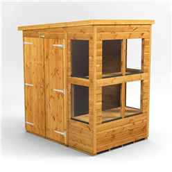 6 X 4 Premium Tongue And Groove Pent Potting Shed - Double Doors - 8 Windows - 12mm Tongue And Groove Floor And Roof