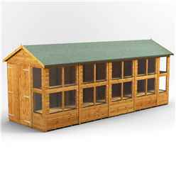 20 X 6 Premium Tongue And Groove Apex Potting Shed - Double Doors - 24 Windows - 12mm Tongue And Groove Floor And Roof